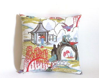 11 Sizes Available: One Coral Green and White Zipper Toile Robert Allen Pillow Cover Asian Decor 18x18 24x24 26x26 or lumbar cover-KTUC