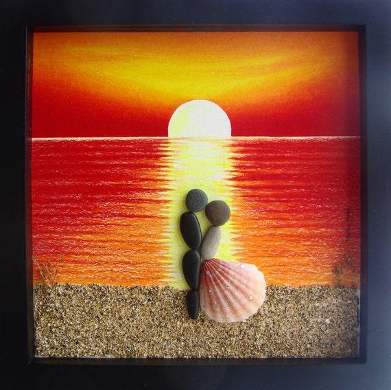 Pebble Art Wedding Gift : ... Wedding present-Personalized COUPLE Gift- Wedding Gift- Pebble Art