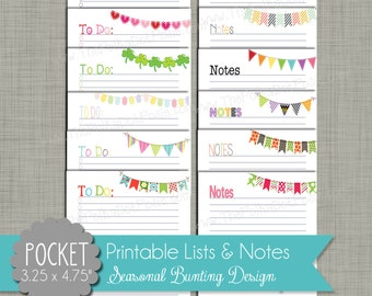"Seasonal Bunting To-Do Lists & Notes {Printable} - Pocket Sized 3.25 x 4.75 "" PDF"