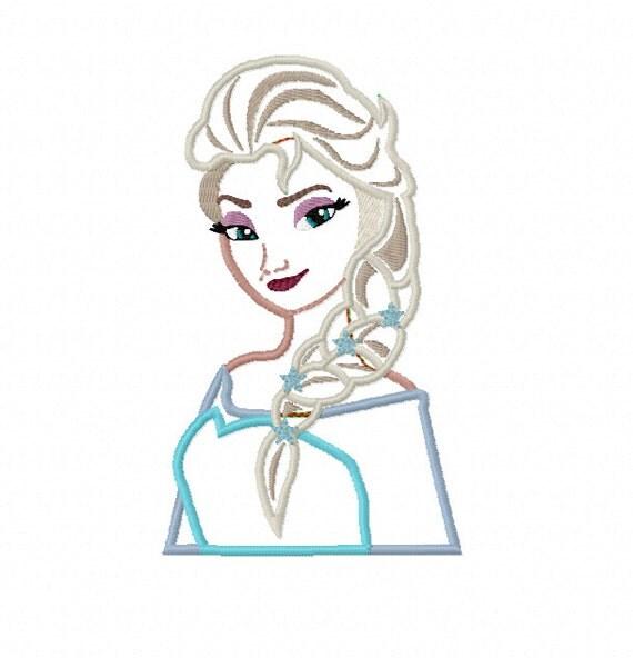 Elsa applique frozen princess machine by