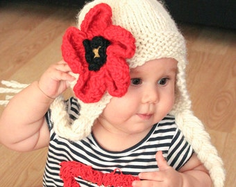 Knitting Pattern Earflap Hat with flower in 6 sizes from newborn to adult