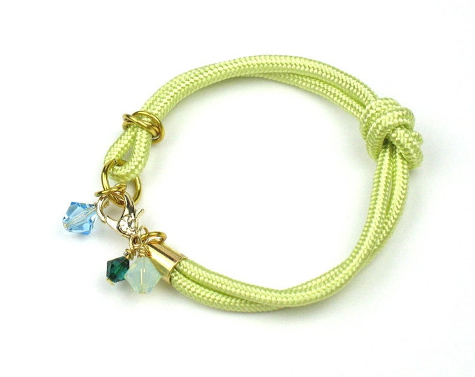 Rope Bracelet in Chartreuse with Swarovski Crystal Charms, Gift for Her by elle and belle