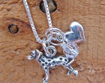 Dalmatian Mini Heart Sterling Silver Necklace