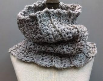 Chunky Cowl Textured Handmade Crochet Neckwarmer Womens Infinity Scarf / Grey Stones