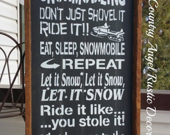 rustic SNOWMOBILING- SLEDDING Sign, Handmade Wood Typography Sign, Fathers Day Sign, Mancave Sign, Bar Sign, Framed