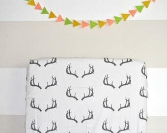 Crib Sheet Deer Antlers. Fitted Crib Sheet. Baby Bedding. Crib Bedding. Minky Crib Sheet. Crib Sheets. Black Crib Sheet.