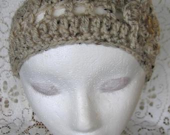 Oatmeal Crochet Headband with Flower Hair Accessory