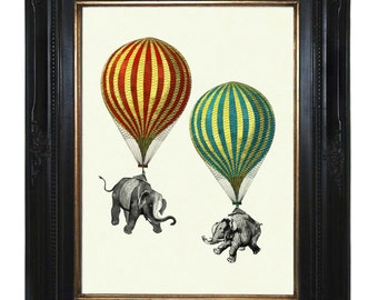 Elephants Art Print hanging from Hot Air Balloons Victorian Steampunk Natural History Art Print Surrealism