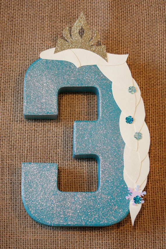 Frozen party decoration elsa number or letter by littleabcs for Number 4 decorations