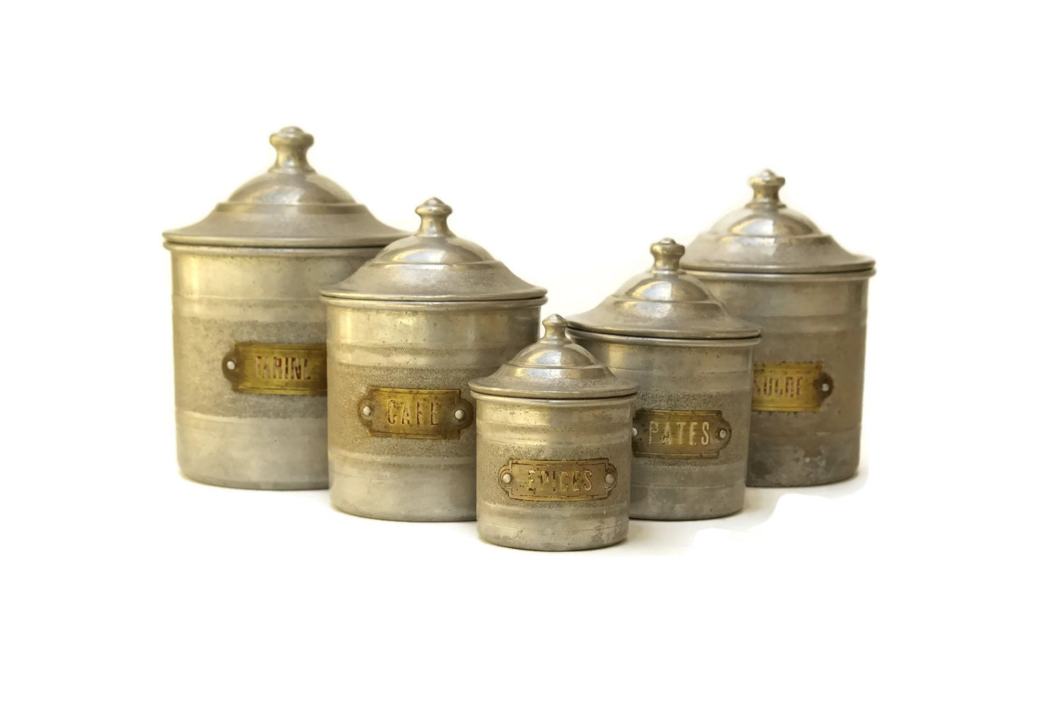 set of french canisters aluminum kitchen by lebonheurdujour