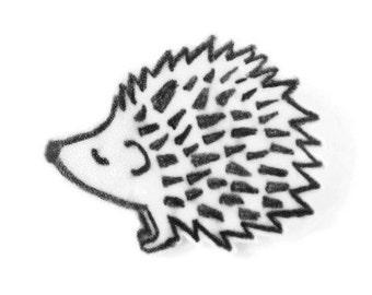Hedgehog Art Brooch pin, Hand Drawn Shrink Plastic Art, Wearable Shrinky Dink Art Gift, Black and White Drawing, Hedgehog gift