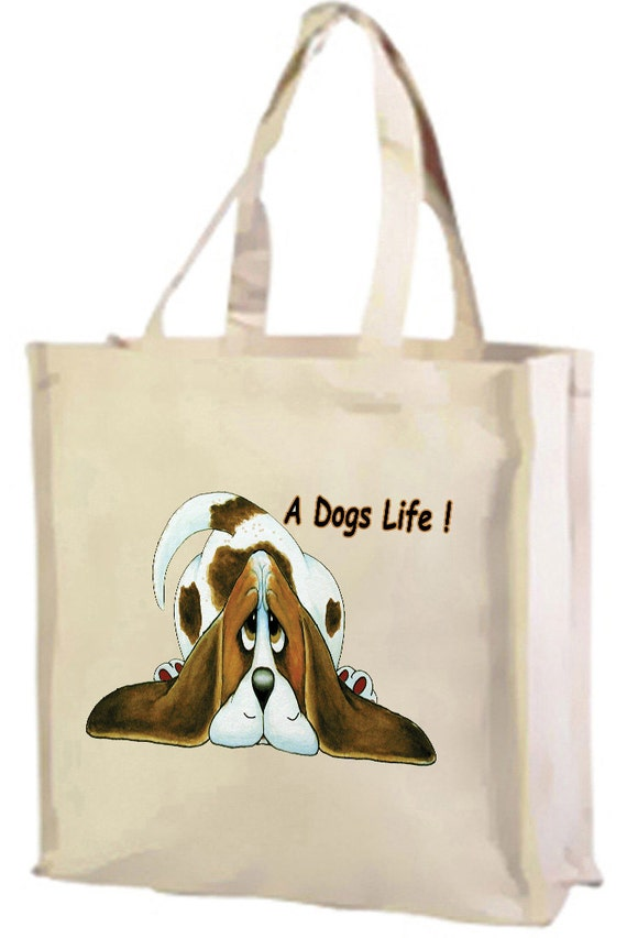 A Dog's Life Cartoon Basset Hound Cotton Shopping Bag with gusset and long handles, 3 colour options