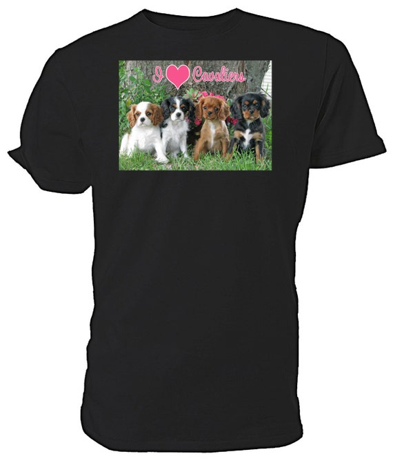 I Love Cavalier King Charles Spaniels T shirt. classic round neck short sleeved choice of sizes and colours,