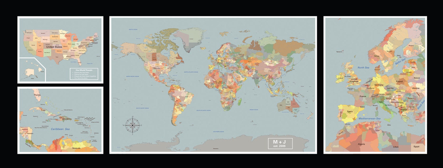 Large world map wall map map wall display set of 4 large
