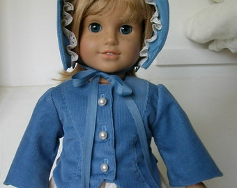 American Girl doll - up-cycled late 1800s jacket and bonnet