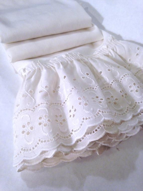 shabby chic white eyelet ruffled cafe curtain panels (1 pair); country ...