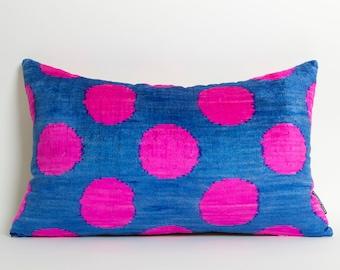 Ikat Silk Velvet Pillow Cover - Neon Pink Polka Dots Blue Modern Decorative Velvet Ikat Pillow For Couch Neon Pink Pillow Pink Throw Pillows