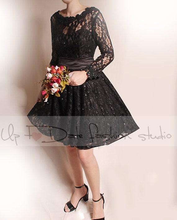 Black Lace Wedding Dress Plus Size Naf Dresses: Plus Size Short Black /wedding Lace Dresses / Long Sleeves