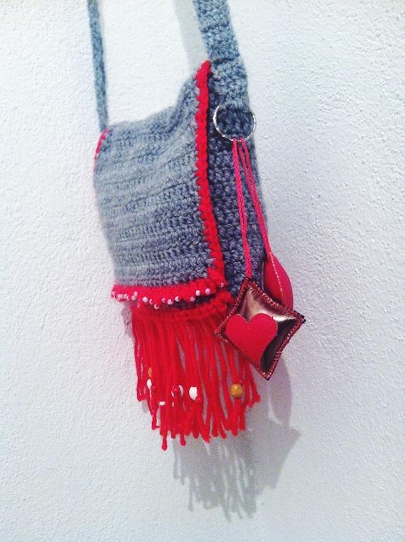 Crochet Fringe Bag : Crochet Bohemian Bag-Hobo Bag-Red Fringe Purse-Shoulder Bag-Crochet ...