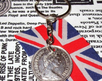 1980 British Old Large Five Pence Coin Keyring Key Chain Fob Queen Elizabeth II