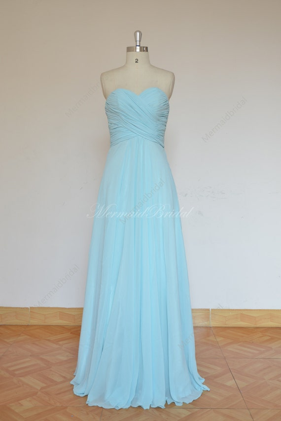 Simple Light Blue Prom Dress Bridesmaid Dress With Sweetheart