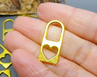 5 Large heart Lock CHARMS in gold plate -Jewelry Making Findings supplies -MC0518