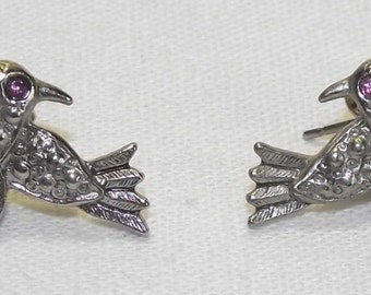 Gorgeous Avon bird earrings for pierced ears. Pewter. Tiny purple eyes.   FREE SHIPPING  #78b.