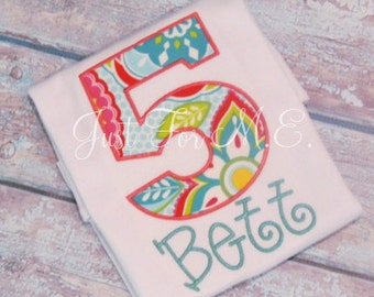 Personalized Girl Applique Birthday Number and Name shirt or bodysuit Makes a great gift FREE MONOGRAM