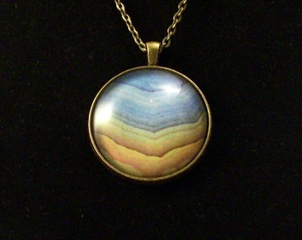 "Blue and Yellow Graphic Glass Pendant Necklace with Long 36"" Chain"