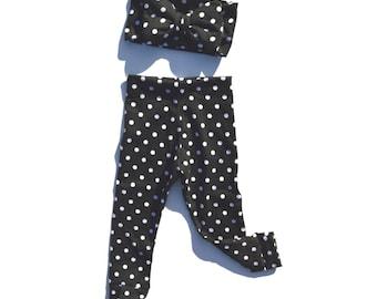Black and White Polka Dot Big Bow Headband with Matching Leggings / Big Baby Bow Headband / Big Toddler Bow Headband