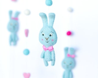Bunny Mobile - Baby mobile - Rabbit Mobile -  Needle Felted Mobile - Cot mobile - Crib mobile -  Nursery Decor - Baby Shower Gift