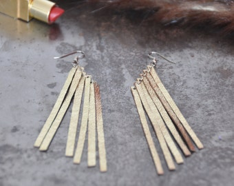Boho fringe earrings ,Gold Fringe earrings, Leather earrings, Long earrings, Gold statement earrings, long fringe earrings, Jewelry gift
