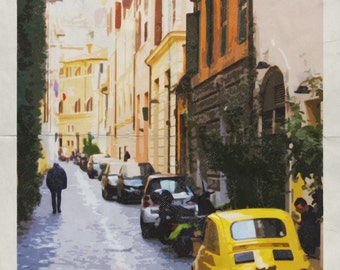 Rome print. Rome poster. Rome art. Rome Italy. Rome travel poster. Rome illustration. Wall art print Vintage. Vintage Rome poster Trastevere