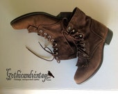 Boots Womens Coffee Brown Suede Granny Boots
