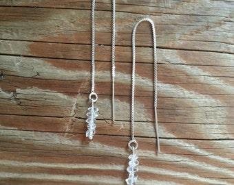 Herkimer diamond threader earrings on silver