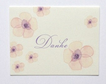 Hand-Painted Floral Thank You Notes Danke