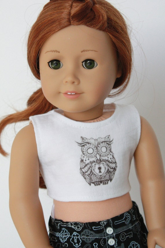 Steampunk Owl 18 Inch CROP TANK TOP for American Girl Doll