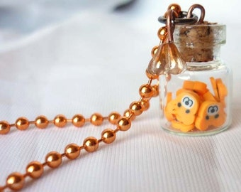 Sweet kawaii Orange Bears Vial Necklace - Teddy Bear
