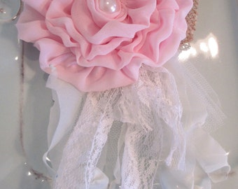 Pink Chiffon Fabric Flower, Bridal Flower Sash, Flower for Corsage, Shabby Chic Lace & Tattered