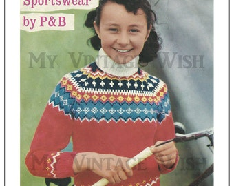 Childs Fair Isle 1960s Vintage Knitting Pattern – PDF Knitting Pattern - Instant Download