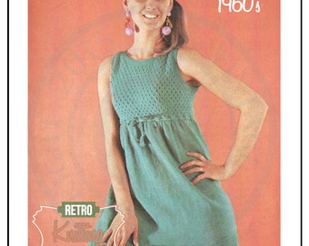 1960s Mini Dress Retro Knitting Pattern – PDF Instant Download
