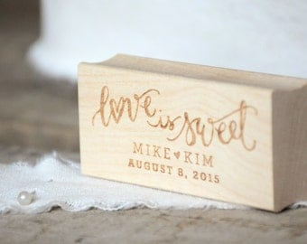 Love is Sweet Rubber Stamp, With or Without Personalized Name, Wedding Favor Tags with Wedding Date