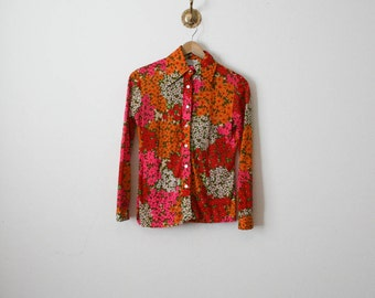 vintage flower power lord taylor blouse
