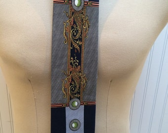 Silk Blue and Gray with Art Nouveau Design Neck Tie by Laurant Benon, Paris