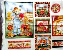 """Happy Harvest Fabric Panel Quilt Blocks 7"""" x 7"""" Squares Flag Pillow Banner Fall Scarecrow Apple Cider Banner Red Rooster Cotton Material"""