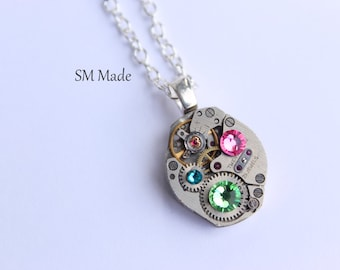 Mothers birthstone necklace - steampunk necklace custom made mothers necklace -  grandmothers necklace - birthstone necklace