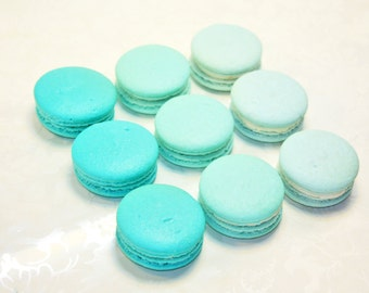 Turquoise Blue Ombre, French Macaron - 3 dozens