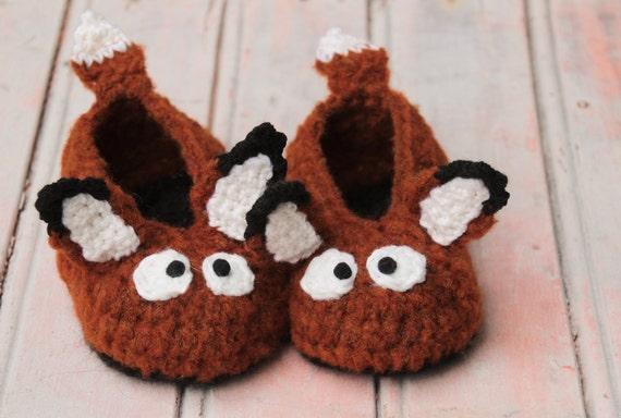 Лиса леса тапочки - вязание крючком ручной работы, очень мягкие тапочки для детей и взрослых, животных домашняя обувь обувь