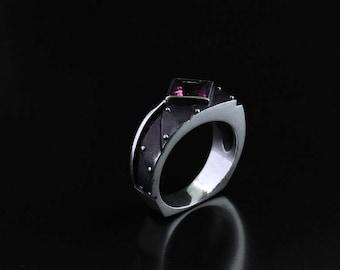 "Silver Modern Industrial Ring  ""Interrogendum 2"" with Amethyst | Custom Gem Silver Ring | Woman's Steampunk Silver Ring"