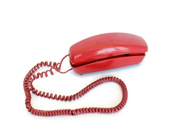 Red Telephone, Western Electric, Trimline Model, Rotary Dial